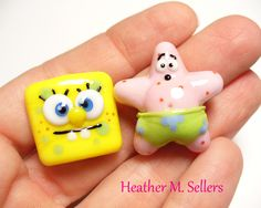 The dynamic duo of Spongebob and Patrick.  Need I say more?   Beads by Heather Sellers Art Glass  #spongebob
