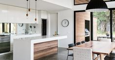 Perfection! Kitchen and dining all open plan, perfect polished concrete floors | Easton House ideas | Pinterest | Modern kitchen interiors, Modern kitchens and…