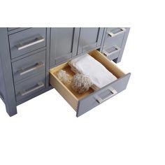 "Laviva Wilson 42"" Cabinet with White Carrara Countertop – EZ Vanities Black Sink, White Sink, Shaker Style Cabinets, Grey Cabinets, Single Vanities, Single Bathroom Vanity, Inside Cabinets, Stone Countertops, Solid Surface"