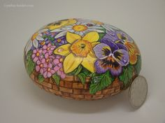 Painted rock,painted stone,flower rock,flowers in basket,daisy,pansy,daffodil,lady bug,floral painting,garden decor,Mothers Day,Easter gift by NightOwlFineArt on Etsy