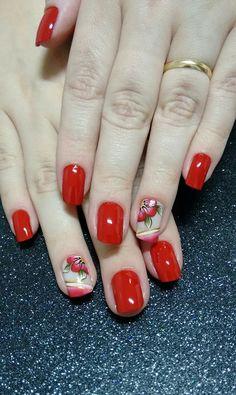 Nail Art, Red Nails, Motifs, How To Make, Beauty, Perfect Nails, Pretty Nails, Red Nail Polish, Summer Nail Art