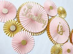 Paper Rosettes-Blush Decorations -Gold Pinwheel Backdrop -Paper fans -Paper Pinwheels -Blush Wedding -Pink and Gold Birthday- Blush and Gold