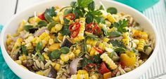 This vibrant salad uses up the last of the late summer vegetables.