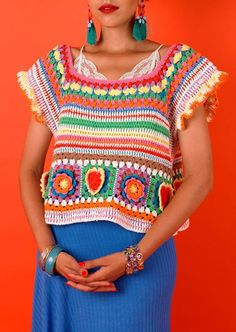 2b8cc8bbd1 Free pattern for multicolor, bohemian style crocheted top. I love the  bright colors and