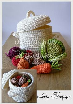 I love this pot of fresh veggies! This is a lot like a project I did for our resident preschooler. I crocheted a PB sandwich, an apple, a bag of 'potato chips' and put it all in a brown lunch 'sack'. This has inspired me to crochet a pot of vegetable stew!