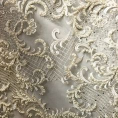 Off White Exquisite Venice Beaded Lace on Mesh European Designer Lace Fabric