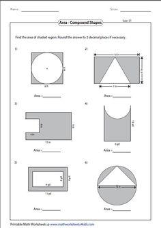 Area Of Composite Figures Worksheet - area Of Composite Figures Worksheet, area Worksheets Area And Perimeter Worksheets, Area Worksheets, Geometry Worksheets, Shapes Worksheets, Printable Math Worksheets, Circle Math, Physics Formulas, Maths Area, Math School