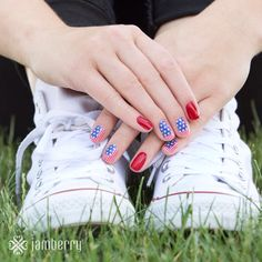 Stars and Stripes & red white and blue is what I will be wearing this 4th! Order now to have in time for the 4th!   www.walkervic.jamberrynails.net