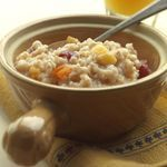 Overnight Oatmeal You can assemble it in the slow cooker in the evening and wake up to a bowl of hot, nourishing oatmeal. The slow cooker eliminates the need for constant stirring and ensures an exceptionally creamy consistency. It is important to use steel-cut oats; old-fashioned oats become too soft during slow-cooking. Calories - 188 Carbohydrates - 34g Saturated Fat - 0g Protein - 6g Sodium - 80mg Dietary Fiber - 9g