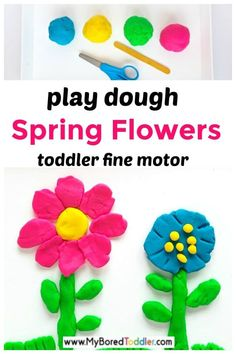 Play Dough Flowers Fine Motor Activity! #myboredtoddler #crafts #toddlers #activities #indooractivities Fine Motor Activities For Kids, Motor Skills Activities, Kindergarten Activities, Fun Activities For Kids, Crafts For Kids, Crafts Toddlers, Indoor Activities, Kids Fun, Playdough Activities