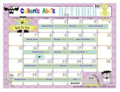Use this calendar with your child or classroom and follow along with the lesson plans on these themes in the DIY Online Preschool.  To help foster an excitement for learning be sure to print this out and hang it where children can see it and ask questions.  Feel free to contact us at CullensAbcs@gmail.com with any questions.  http://online-preschool.cullensabcs.com/