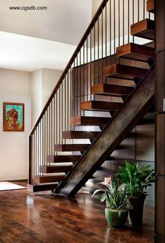 Terrific Residential Metal Stairs Ideas in Staircase Contemporary design ideas with custom floating stairs floating treads mesquite stairs Wood Railings For Stairs, Modern Stair Railing, Stair Railing Design, Modern Staircase, Steel Railing, Stair Treads, Staircase Contemporary, Rebar Railing, Steel Stairs Design