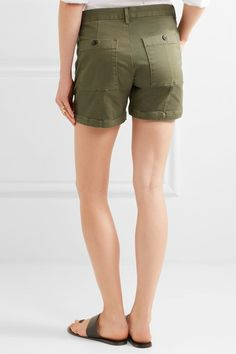 FRAME - Le Cuffed Cotton-blend Shorts - Army green - 27