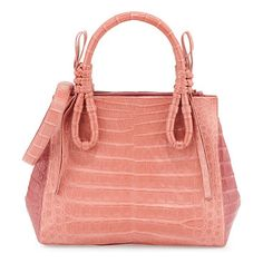 """Crocodile medium knotted top-handle bag by Nancy Gonzalez. Nancy Gonzalez colorblock satchel bag in signature Caiman crocodile. Knotted top handles, 4. 3"""" drop. Removable shoul..."""