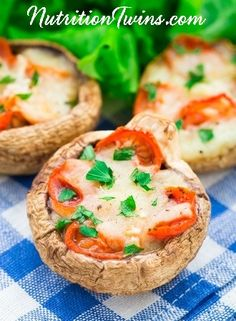 Portobello Pizza | Only 109 Calories! | Guilt-free, Low-Calorie Pizza | Gooey and Cheesy Comfort Food Lightened Up | For MORE RECIPES please SIGN UP for our FREE NEWSLETTER www.NutritionTwins.com