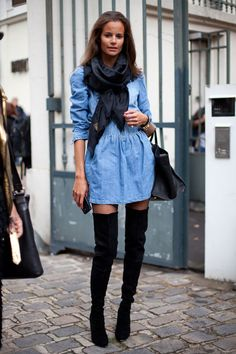 Chambray Dress and over the Knee boots Street Style Spring 2013 - Paris Fashion Week Street Style - Harper's BAZAAR High Street Fashion, Fashion Week Paris, Looks Street Style, Spring Street Style, Looks Style, My Style, Autumn Winter Fashion, Spring Fashion, Modell Street-style