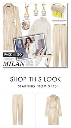 """""""Pack and Go: Milan"""" by pearlparadise ❤ liked on Polyvore featuring The Row, DKNY, Anja, Rupert Sanderson, women's clothing, women, female, woman, misses and juniors"""