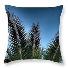 Palm Throw Pillow featuring the photograph Palm Leaves 05 by Dora Hathazi Mendes #homedecor #throwpillow #dorahathazi #palmtree