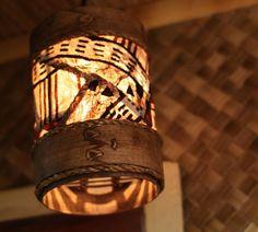 Tapa lamp (Barrel Style) for a Hip Tiki Bar