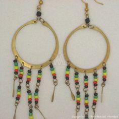 Maasai Market African Kenya Jewelry Brass Masai Beads Rasta Earrings 629-20 | eBay