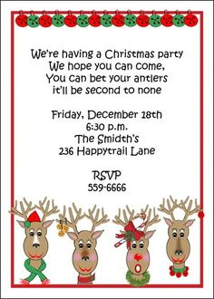 Kids Christmas Party Invitation Cards