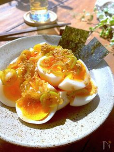 Pin on 簡単おつまみ Healthy Plate, Japanese Food, Asian Recipes, Food And Drink, Menu, Eggs, Lunch, Fish, Cooking