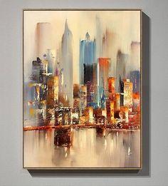 Large Original Abstract City Painting, Urban Art Painting, City Skyline Painting,New York Skyline,Ne New York Painting, City Painting, Urban Painting, Painting Abstract, Skyline Painting, Urbane Kunst, Paint Prices, Abstract City, City Art