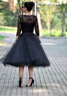 b4a8ea81810 Black Grenadine Pleated High Waisted Tulle Tutu Homecoming Party Cute  Elegant Skirt - Skirts - Bottoms