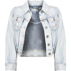 Stone Wash Cropped Denim Jacket ❤ liked on Polyvore