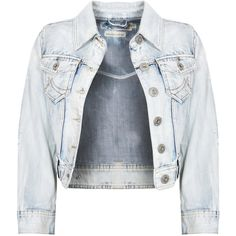 Stone Wash Cropped Denim Jacket ($30) ❤ liked on Polyvore featuring outerwear, jackets, tops, casacos, cropped jacket, light blue jean jacket, denim jacket, cropped denim jacket and pocket jacket