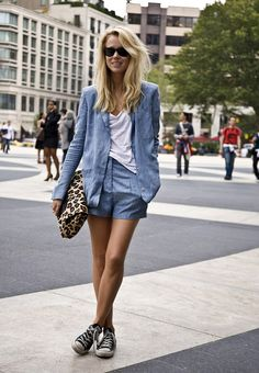 Street Style - Elin Kling in Chambray Shorts Suit + Sneakers