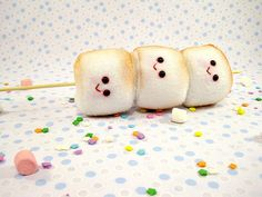 marshmallows - be funny to film these getting toasted. Faces melting etc. Cute lil guys.