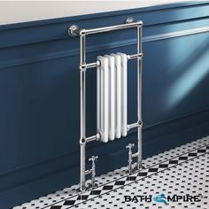 Victoria Traditional Slimline Towel Radiator in White 952mm x 479mm