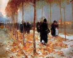 """Art Pics Channel on Twitter: """"Konstantin Korovin, Paris street scene in autumn, 1889 https://t.co/VB3r0MDunP"""""""