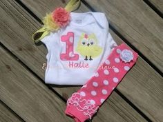 Pink and yellow owl birthday outfit 1st birthday by CEBowtique, $28.00