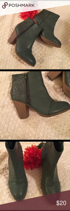 Rampage Valorie Studded Ankle Boot Beautiful Studded Ankle Boot by Rampage in the color Jade blue green. Heel height is 3 inches and the inside and outside in excellent condition. No wear. Rampage Shoes Ankle Boots & Booties