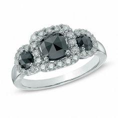 Zales 1-1/3 CT. T.W. Enhanced Black and White Diamond Frame Three Stone Ring in 14K White Gold