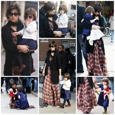 Hair - cabelo - beautiful - bonita - hermoso - moda - look - style - estilo - inspiration - inspiração - inspiración - fashion - elegant - elegante - chic - black - preto - coat - casaco - White - branco - plaid dress - vestido xadrez - satin - cetim - blue - azul - pantyhose - meia calça - Tights - Shoes - sapato - kid - child - criança - Princess - princesa - baby - bebê - daughter - filha - hija - mother - mãe - madre - mom - mamãe - mamá - November - 2008 - Katie Holmes - Suri Cruise