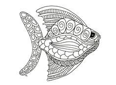 Galerie de coloriages gratuits coloriage-poisson-zentangle-etape-1-par-olivier. Poisson style Zentangle - étape 1, par Olivier