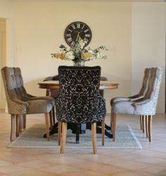 Warwick Fabrics Fernandes and Ella fabrics are a perfect pairing on these 'Veronica' chairs by @classfurn