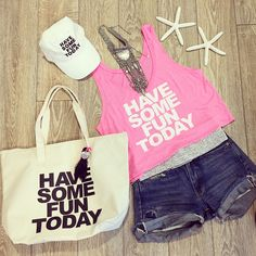 Fun Stuff! The Neon pink Boxy Tank $45., the Baseball Cap- $30.. and the Printed Tote Bag -$40 all available online!