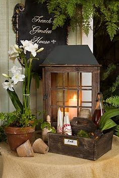 French Garden idea for a vignette! Perfect place for Candle Impressions Flameless Candles.love this rustic, French-country look Lanterns Decor, Candle Lanterns, Flameless Candles, Candels, Pillar Candles, Cottage Style, Farmhouse Style, Br House, Vibeke Design