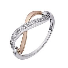 Silver & 9ct rose gold cubic zirconia figure of 8 ring - Product number 2315106