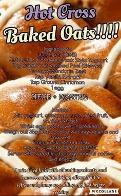 Hot cross baked oats