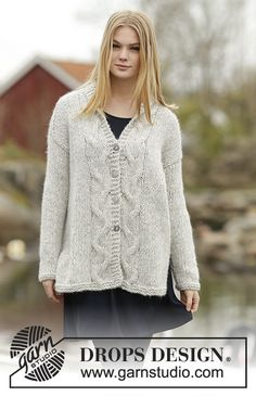 "Winter Sparkle Cardigan - Knitted DROPS jacket with cables in ""Cloud"". Size: S - XXXL. - Free pattern by DROPS Design"