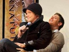 Seeing Jared Padalecki sit down on Jensen Ackles is priceless, people. Cherish this photo for the rest of your life <3