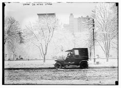 This vintage photo is not a negative-- it's New York's Union Square covered in a severe snowstorm. Hope that car has some good traction! (Photo: Library of Congress)