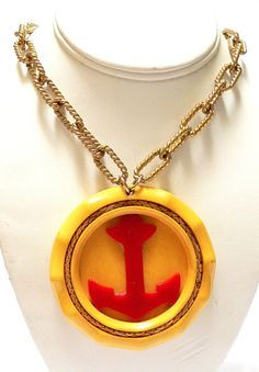 de Lillo BAKELITE Necklace Pendant  Nautical Anchor & by ChezVous, $1095.00