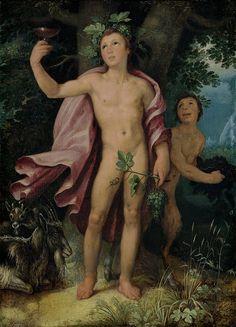 Bacchus and a Satyr - Cornelis van Haarlem