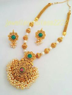 New golden gundla haram necklace designs Gold Jewellery Design, Gold Jewelry, Jewelery, Women Jewelry, India Jewelry, Temple Jewellery, Simple Jewelry, Trendy Jewelry, Necklace Designs